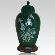 Iris Green Keepsake Cremation Urn
