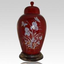 Iris Red Keepsake Cremation Urn
