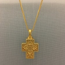 Large Filigree Pet Cross with Hearts Memorial Jewelry II