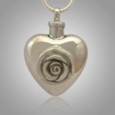 Large Rose Heart Cremation Jewelry