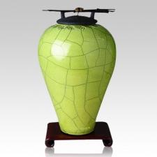 Raku Tall Lime Green Companion Cremation Urn