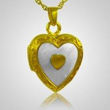 Double Pearl Heart Keepsake Pendant IV