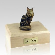 Maine Coon Brown Tabby Large Cat Cremation Urn