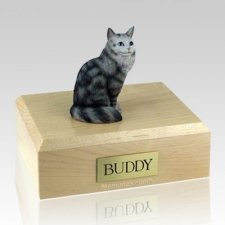 Maine Coon Silver Tabby X-Large Cat Cremation Urn