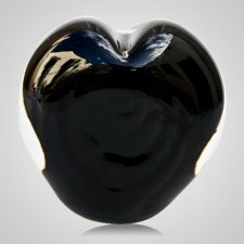Mystic Black Cremation Ash Glass Heart