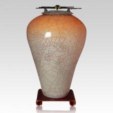 Raku Tall Orange Star Companion Cremation Urn