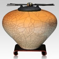 Raku Orange Star Multi Family Cremation Urn