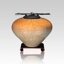 Raku Orange Star Small Cremation Urn