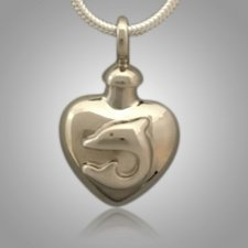 Pet Dolphin Heart Cremation Pendant