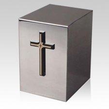 Pristino Bronze Cross Steel Urn