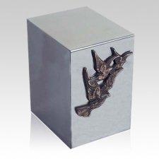 Pristino Bronze Doves Steel Urn
