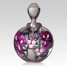 Purple Striped Flower Keepsake Urn