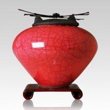 Raku Red Extra Large Cremation Urn