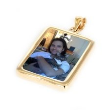 Rectangle Yellow Gold Photo Jewelry