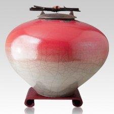 Raku Red Star Multi Family Cremation Urn