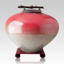Raku Red Star Extra Large Cremation Urn