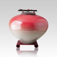 Raku Red Star Medium Cremation Urn