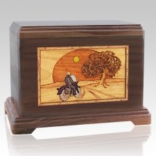 Riding Home Walnut Cremation Urn For Two