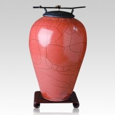 Raku Tall Rose Companion Cremation Urn