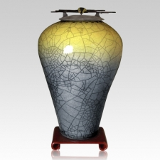 Raku Tall Sage Yellow Companion Cremation Urn
