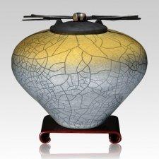 Raku Sage Yellow Extra Large Cremation Urn