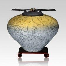 Raku Sage Yellow Large Cremation Urn