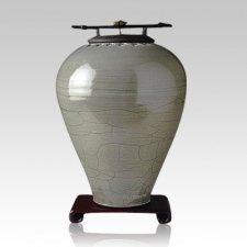 Raku Tall Sage Cremation Urn
