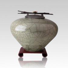 Raku Sage Medium Cremation Urn