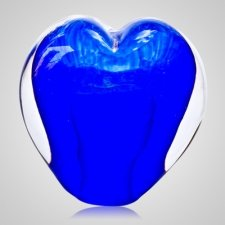 Sky Blue Cremation Ash Glass Heart