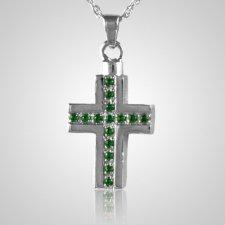 Emerald Crystal Cross Keepsake Pendant III