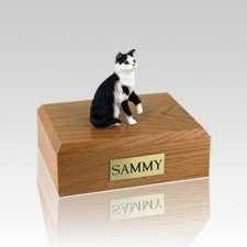 Tabby Black White Sitting Small Cat Cremation Urn