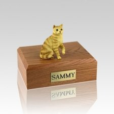 Tabby Red Sitting Small Cat Cremation Urn