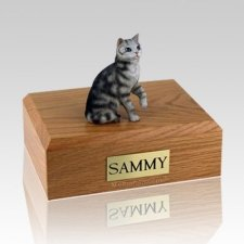 Tabby Silver Sitting Large Cat Cremation Urn