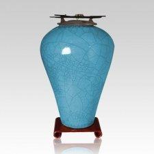 Raku Tall Turquoise Blue Cremation Urn