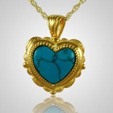 Etched Turquoise Heart Keepsake Pendant II