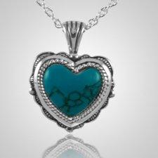 Etched Turquoise Heart Keepsake Pendant