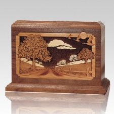 Country Lane Walnut Wood Cremation Urn