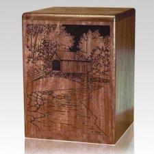 Covered Bridge Walnut Wood Cremation Urn