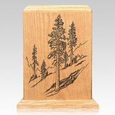 Evergreen Oak Wood Cremation Urn