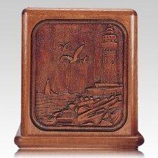 Lighthouse Mahogany Cremation Urn