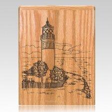 Lighthouse Oak Wood Cremation Urn