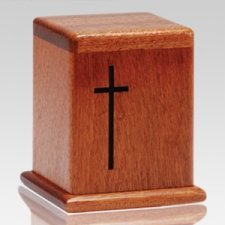 Cross Mahogany Keepsake Cremation Urn