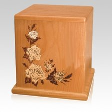White Roses Cherry Cremation Urn