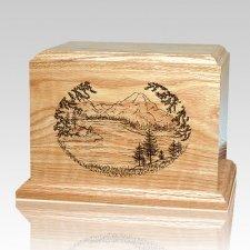 Mountain Lake Oak Wood Cremation Urn