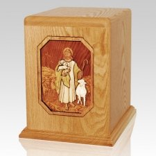 Jesus is Guiding Me Oak Companion Urn