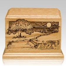 Farm Road Wood Cremation Urn