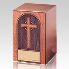 Cross Walnut Panel Wood Cremation Urn