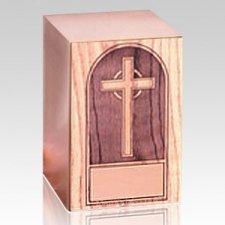 Cross Oak Panel Wood Cremation Urn