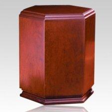 Hexagon Wood Cremation Urn