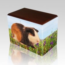 Field of Violets Walnut Pet Picture Urn